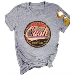 Johnny Cash Country Retro Grey Graphic T-Shirt